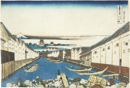 edo nihombashi from fugaku sanju rokkei [edo nihombashi from thirty-six views of mt. fuji] by hokusai